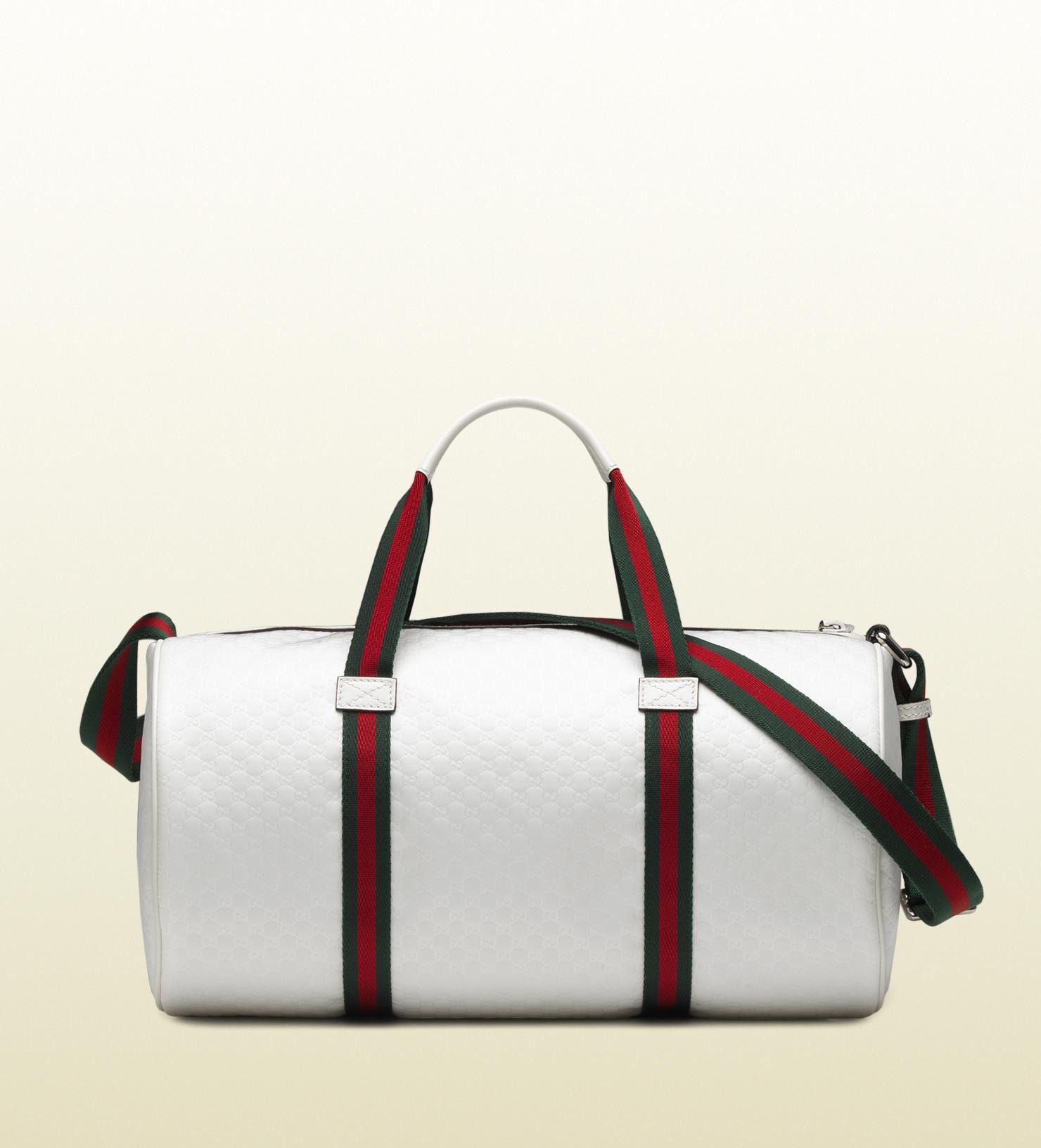 85b6cdfab285 Gucci White Micro Gg Nylon Gym Bag in White for Men - Lyst