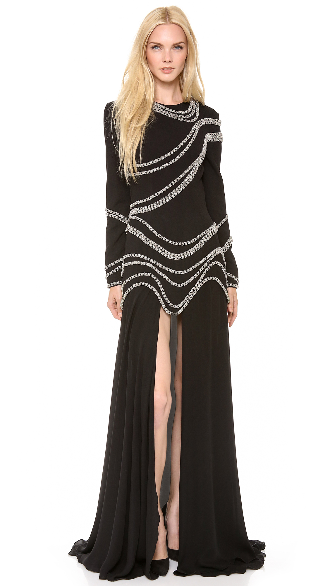 Lyst Jay Ahr Chain Embroidered Gown With Long Sleeves In