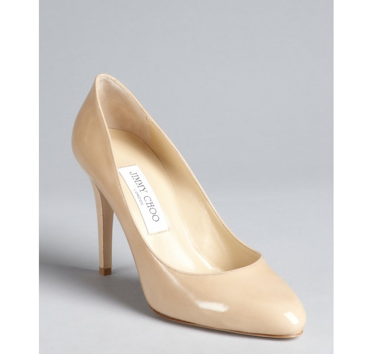 4cb54d960344 ... germany lyst jimmy choo nude patent leather tapered round toe vikki  pumps f2004 eb9f0