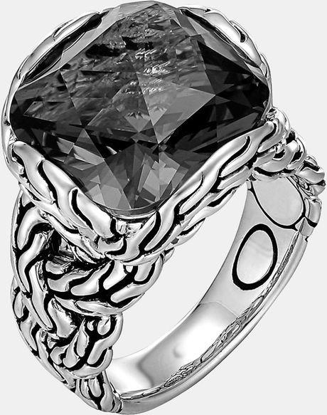 John Hardy Classic Chain Batu Braided Ring in Gray (Silver/ Hematite) - Lyst