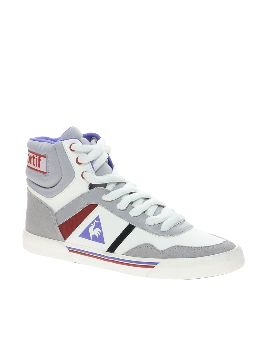 spanx le coq sportif le courbe hi top sneaker in white lyst. Black Bedroom Furniture Sets. Home Design Ideas