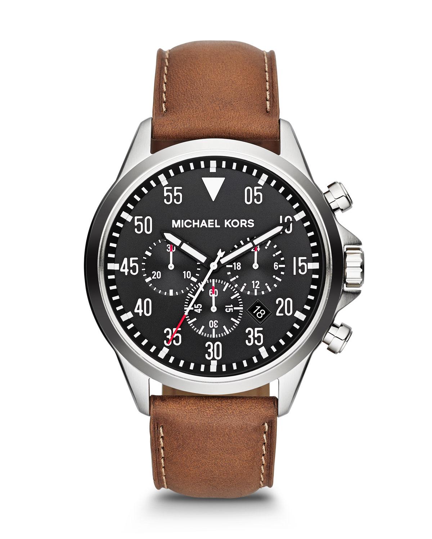 michael kors mens oversize brown chronograph in