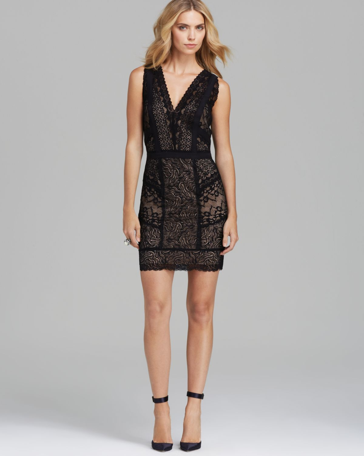 Nicole Miller Sleeveless V Neck Lace Dress Daiquiri In -2411