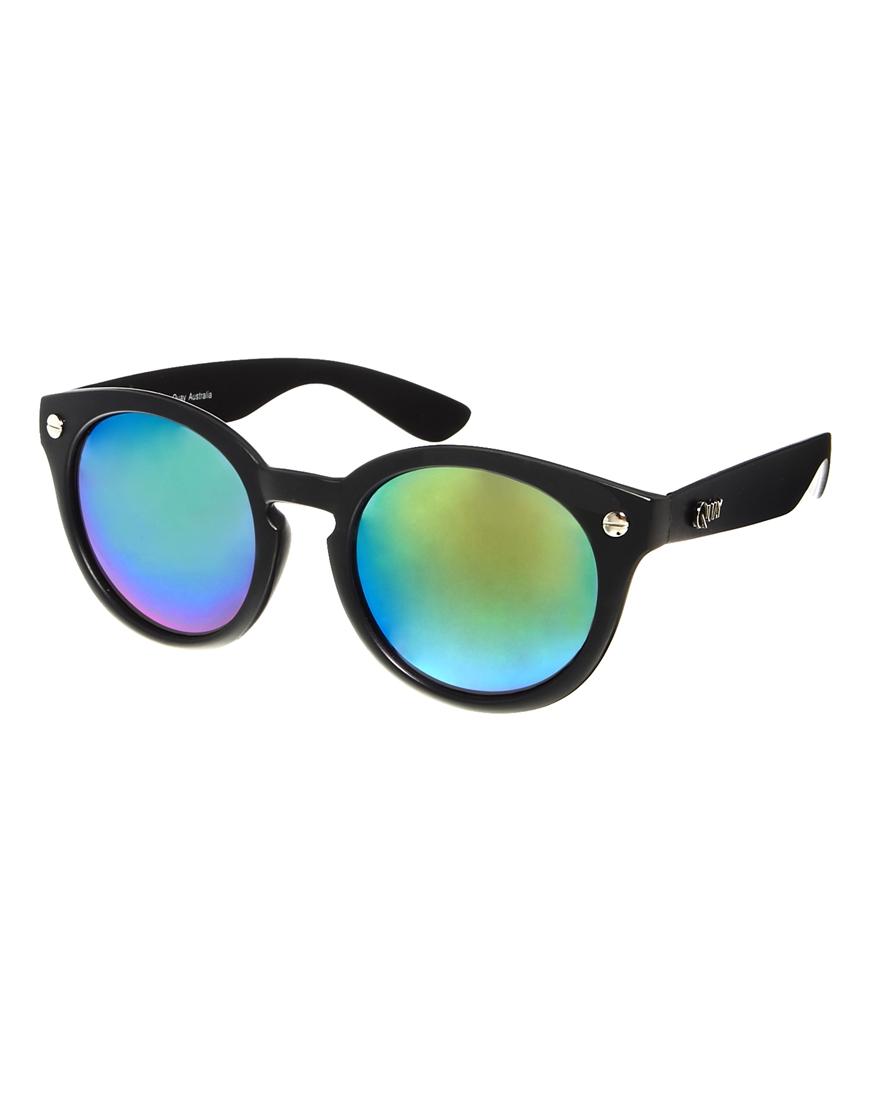 Lyst orla kiely quay iyd round mirror sunglasses in black for Mirror sunglasses