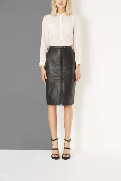 topshop leather zip pencil skirt by boutique in black lyst
