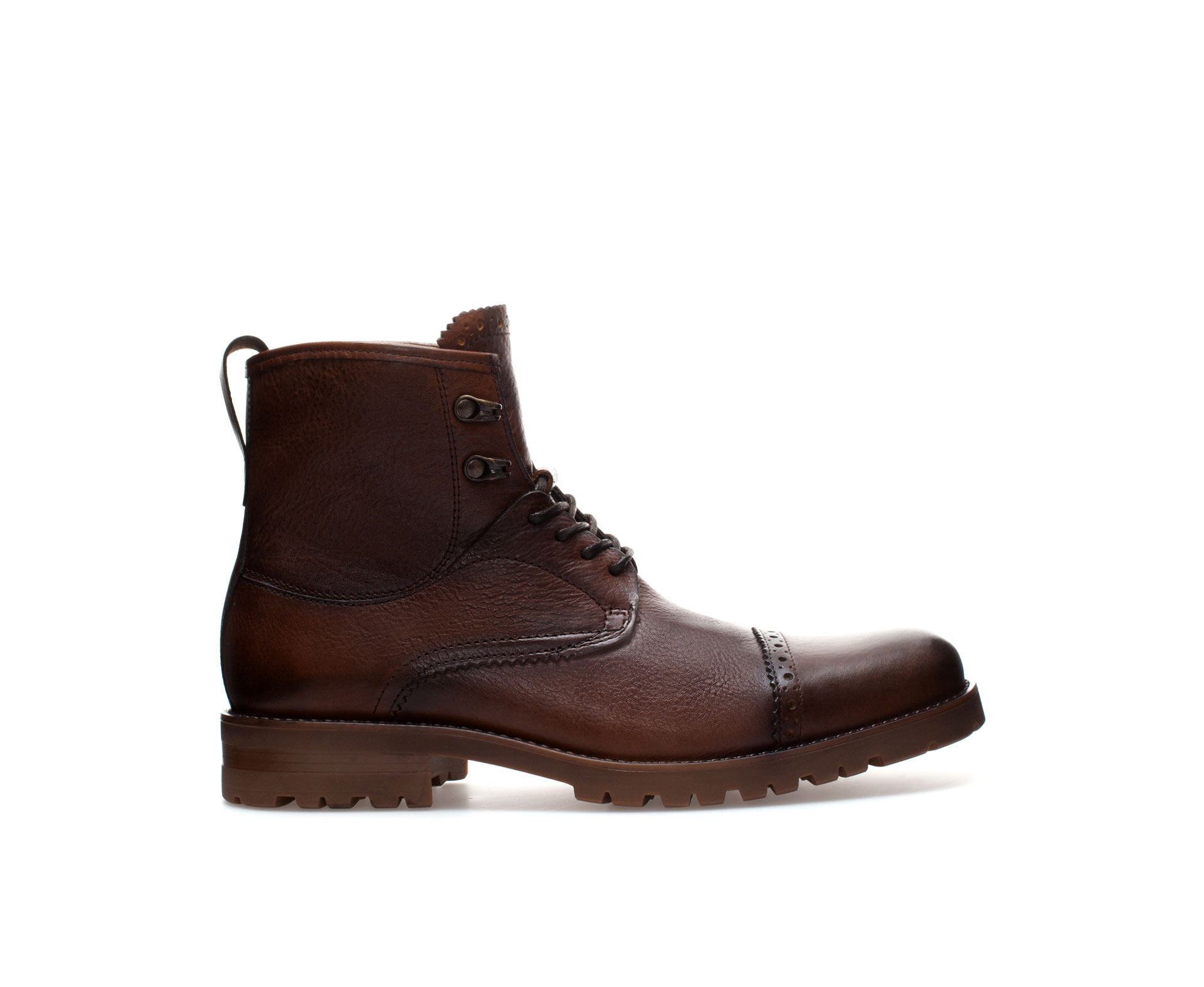 zara dress brogue boot in brown for lyst
