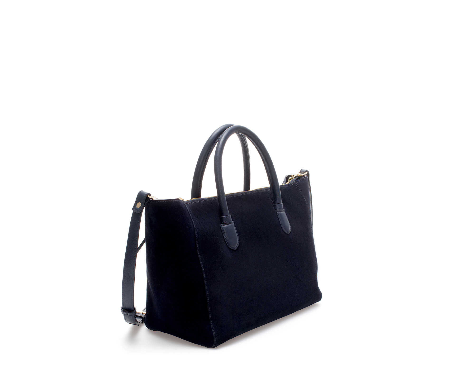 Zara Suede Shopper Bag in Blue | Lyst