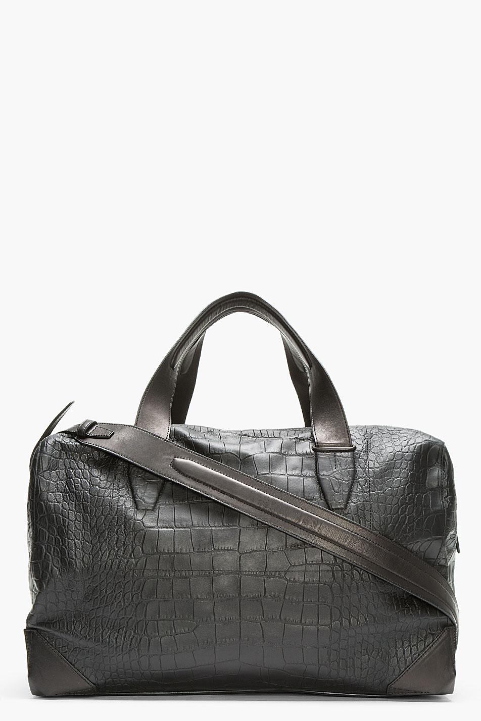 Alexander Wang Black Croc Embossed Leather Wallie Duffle