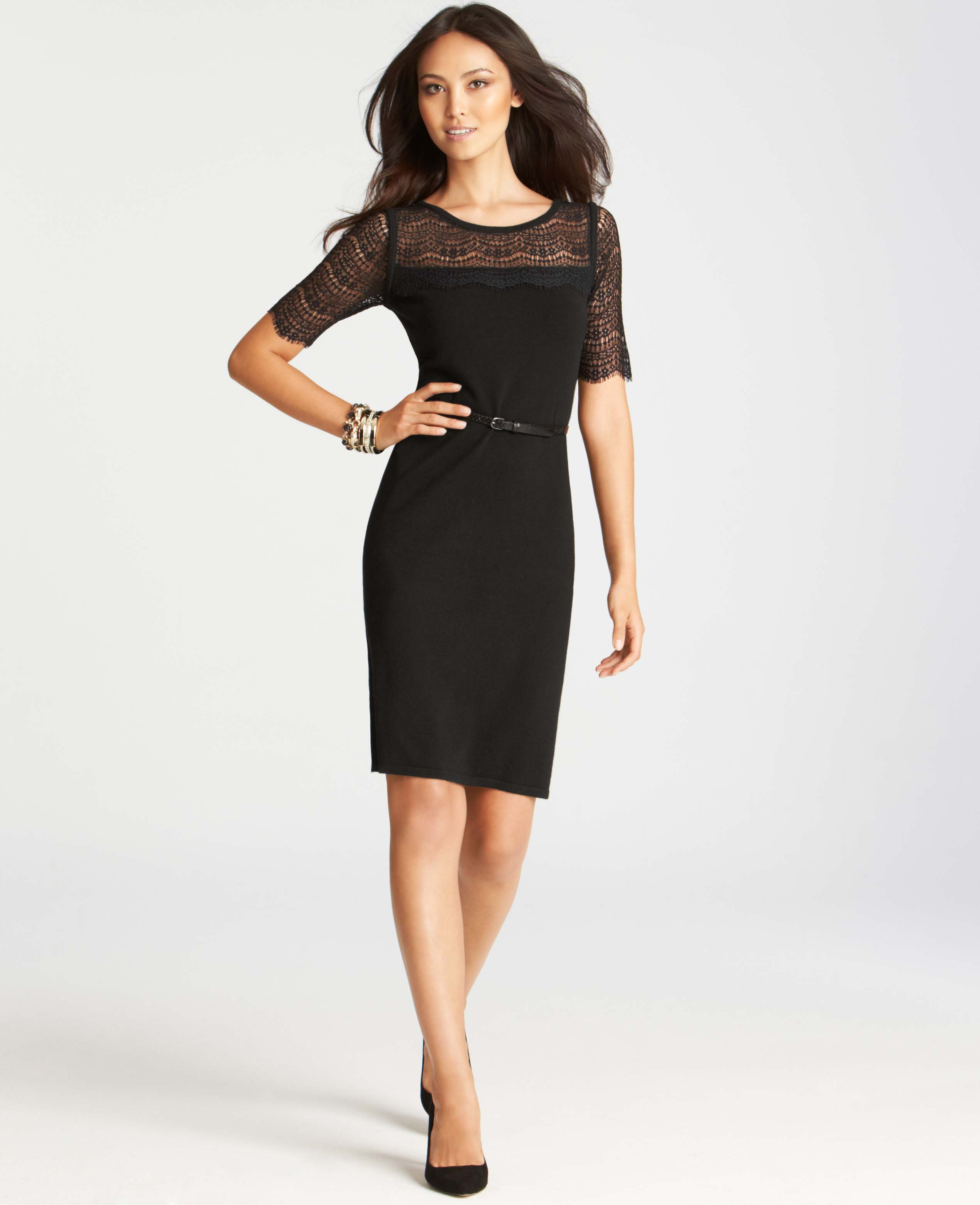 1247a5ef0b Lyst - Ann Taylor Lace Overlay Short Sleeve Sweater Dress in Black