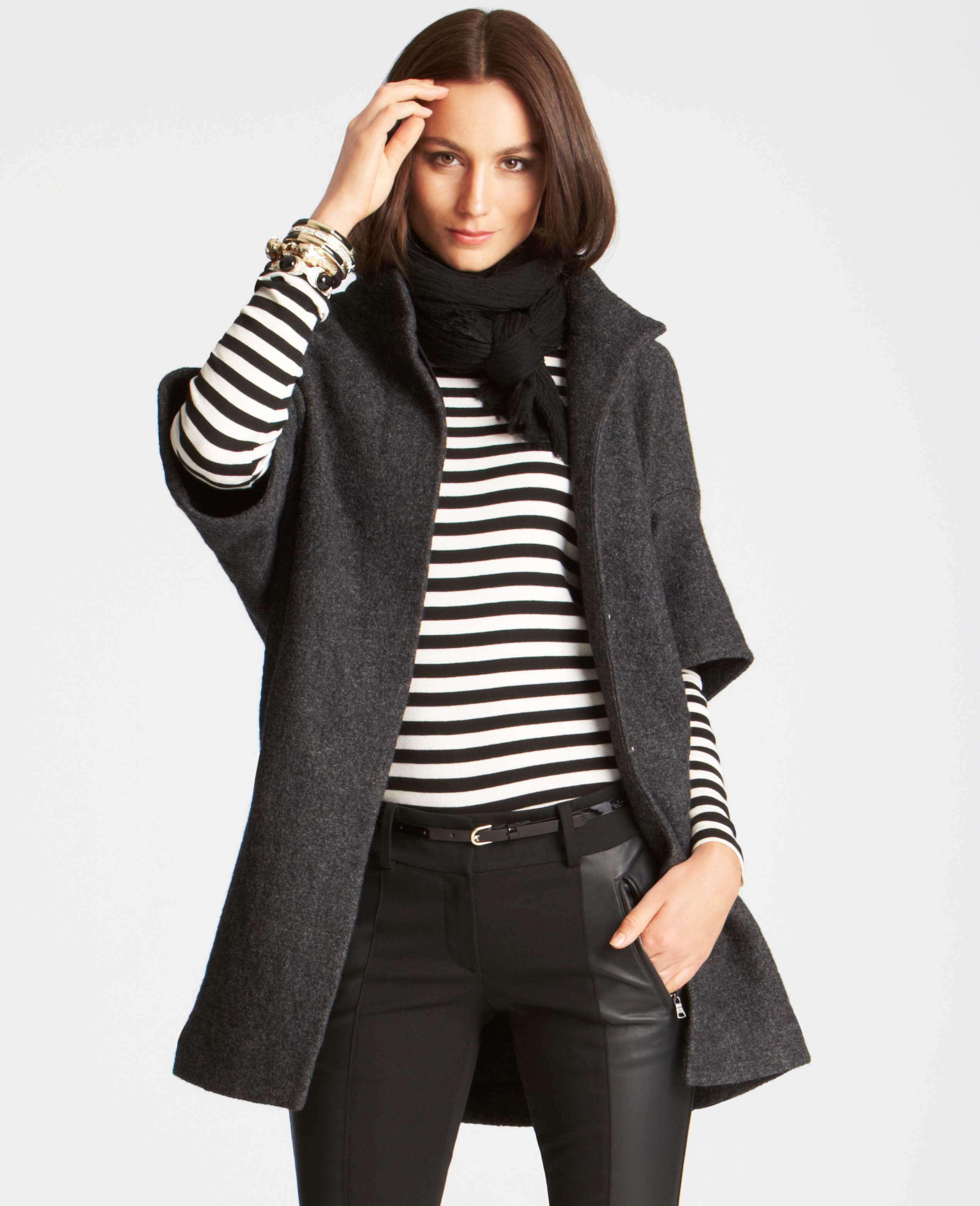 Ann Taylor Boiled Wool Short Sleeve Coat In Gray Dark