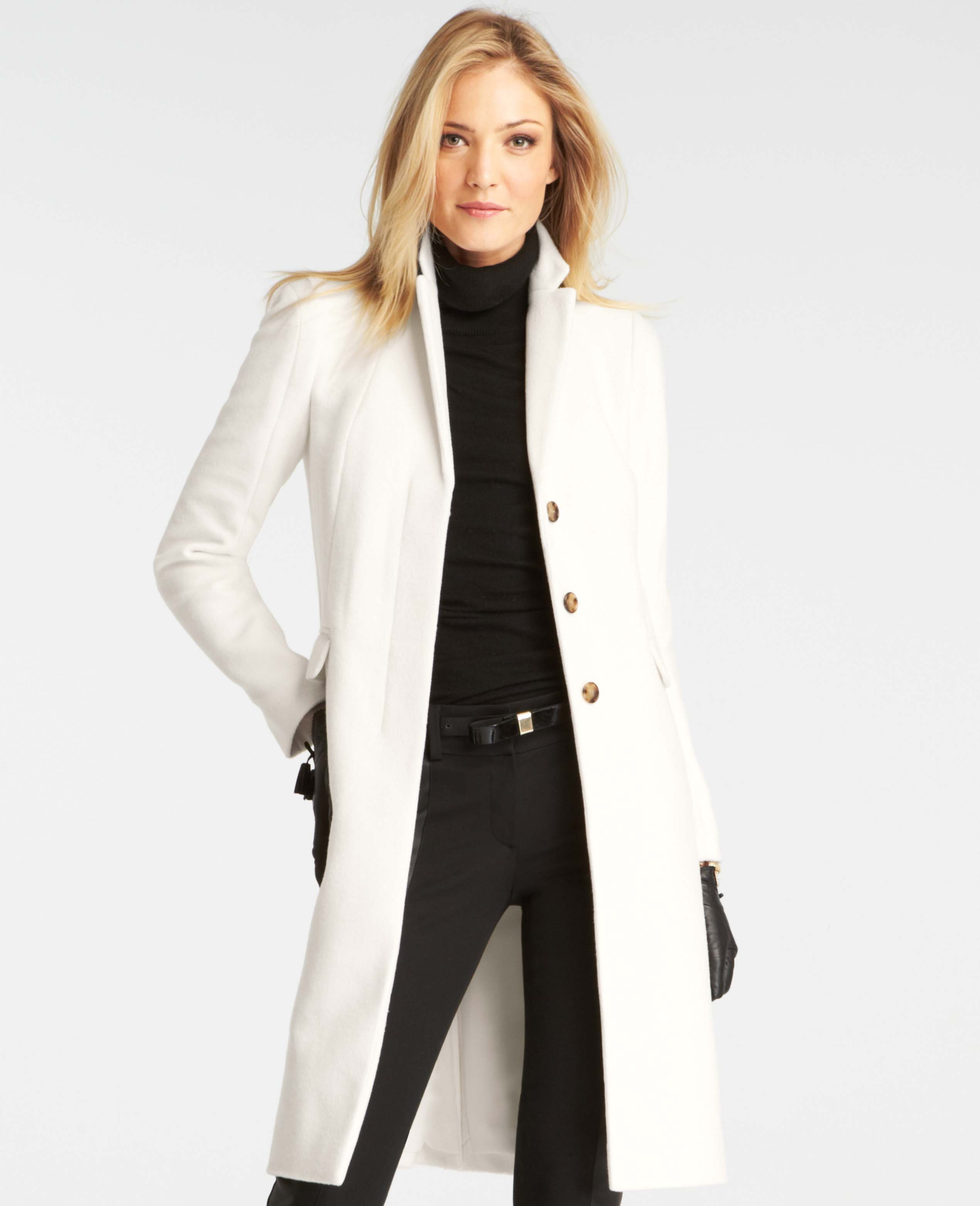 Ann taylor Manor Coat in White | Lyst
