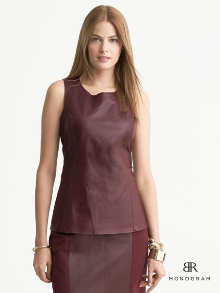 Banana Republic Monogram Leather Shell Rosewood in Red (Rosewood ...