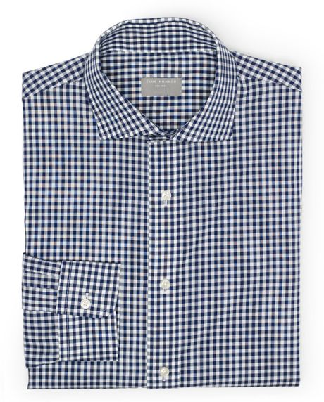 Club Monaco Slimfit Gingham Dress Shirt In Blue For Men