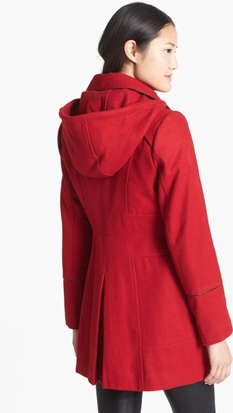 Guess Hooded Toggle Coat In Red Rouge Lyst