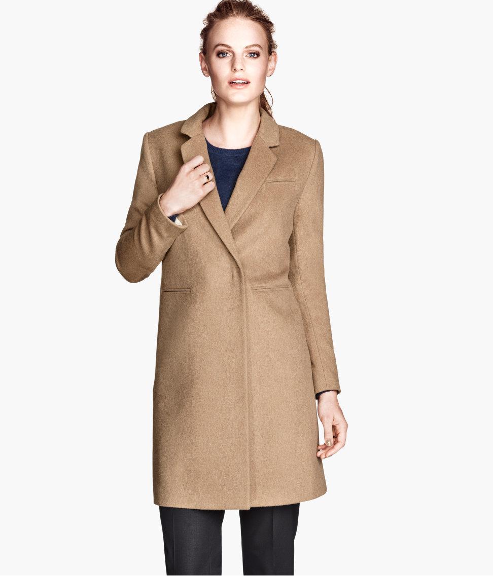 H&m Coat in Natural | Lyst