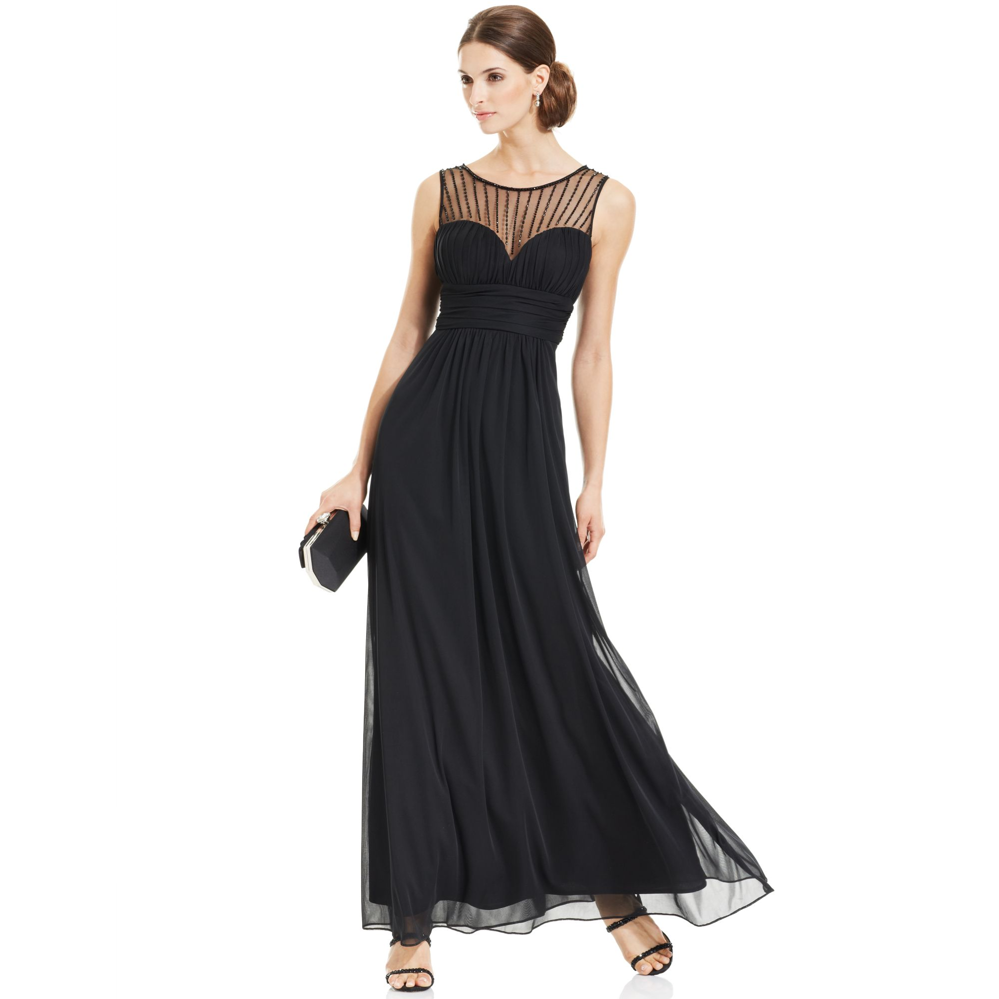 xscape sleeveless illusion sweetheart gown in black