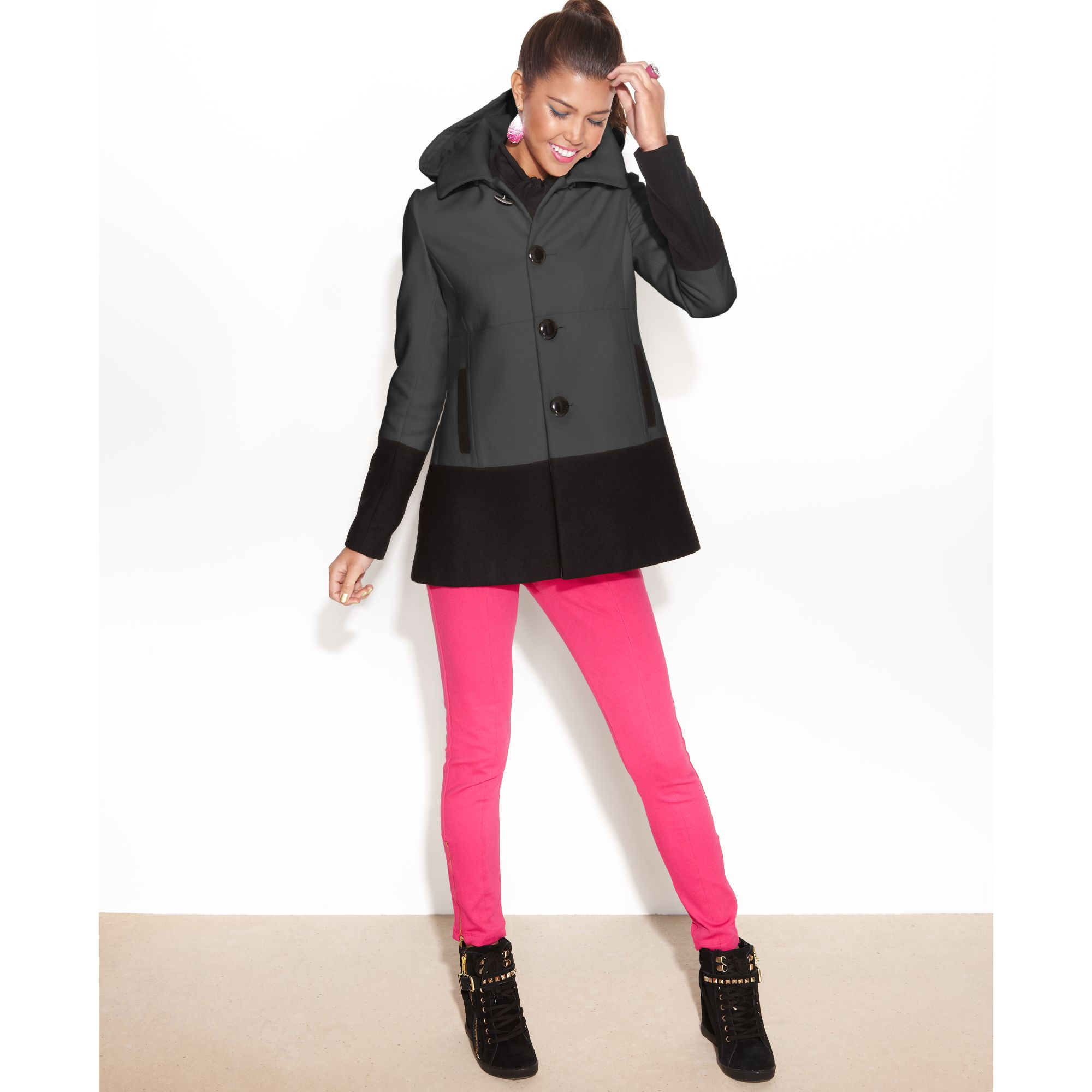 Bcbgmaxazria Bcbg Paris Juniors Coat Hooded Colorblock Pea Coat in ...