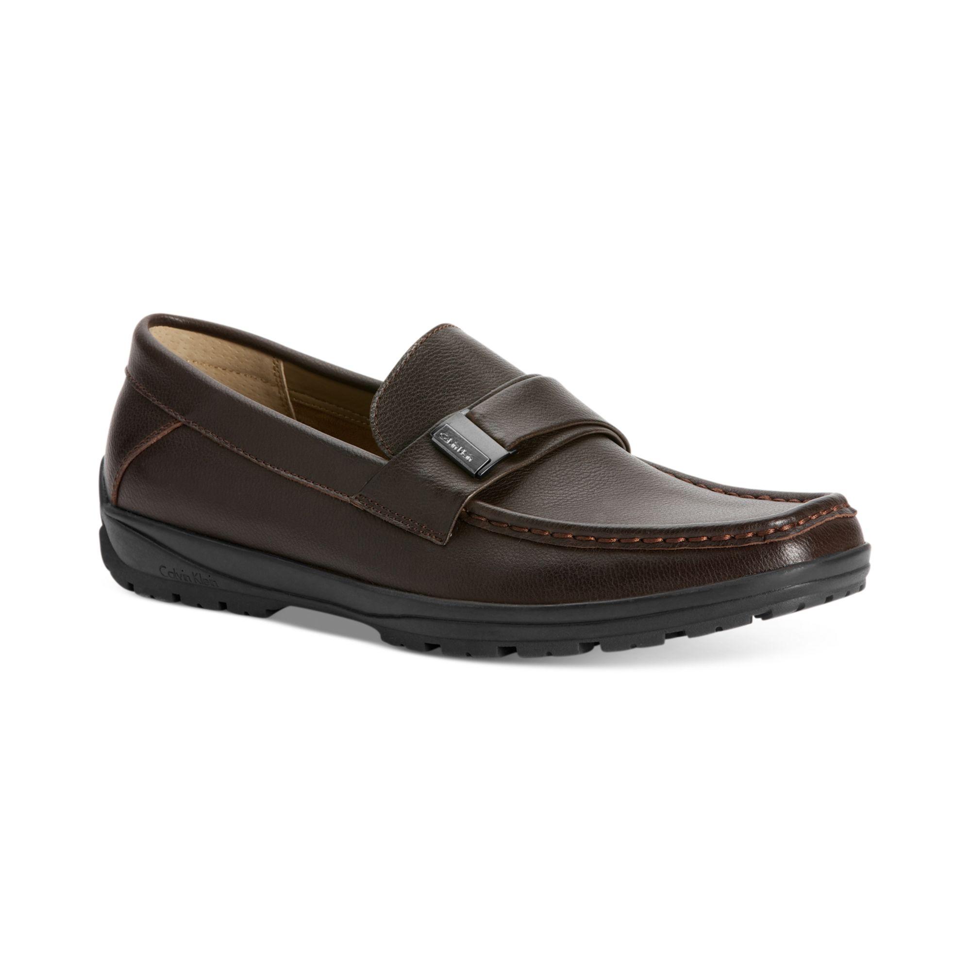 lyst calvin klein quinlan bit slip on shoes in brown for men. Black Bedroom Furniture Sets. Home Design Ideas