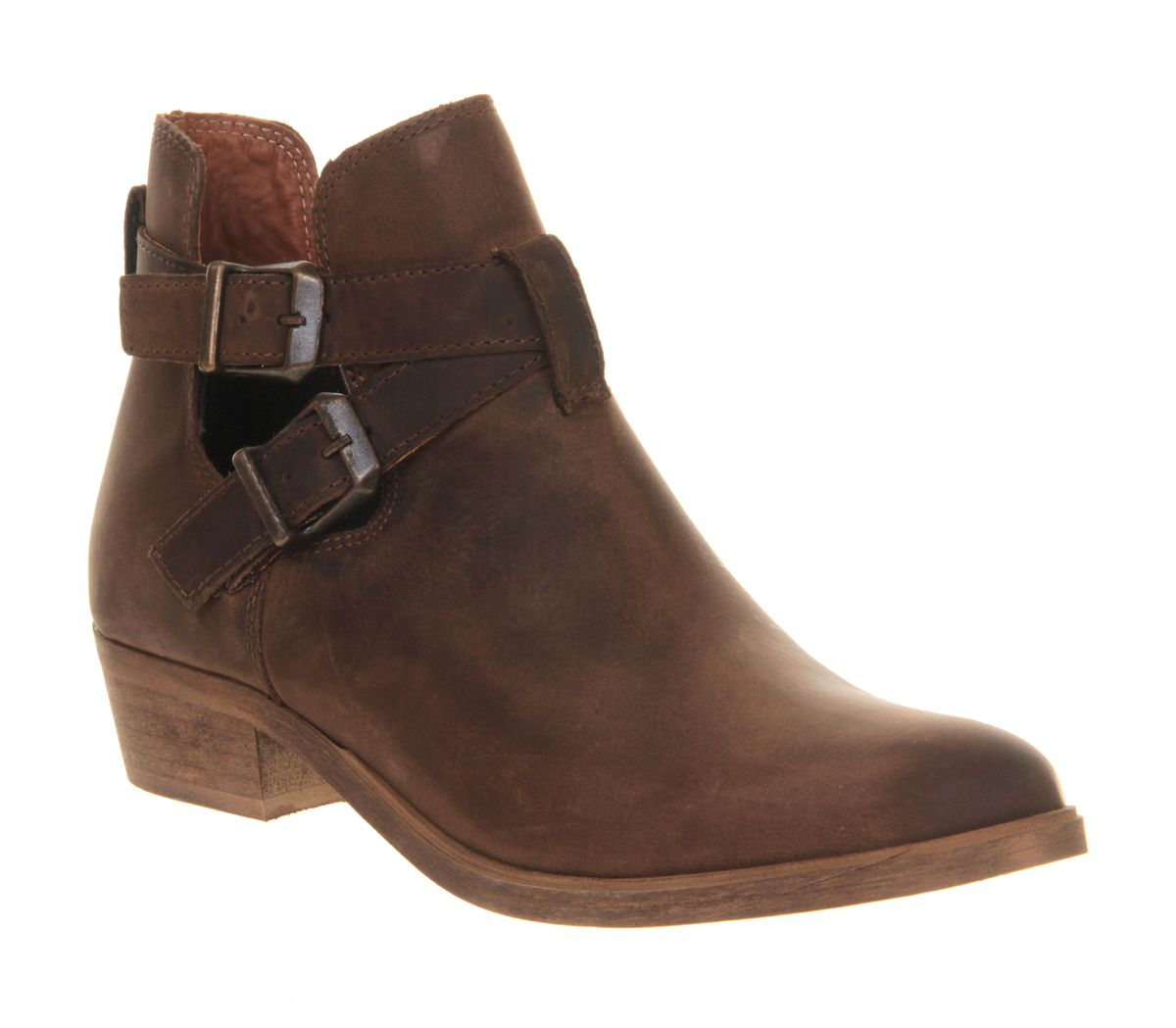 office bronson cut out ankle boots in brown lyst