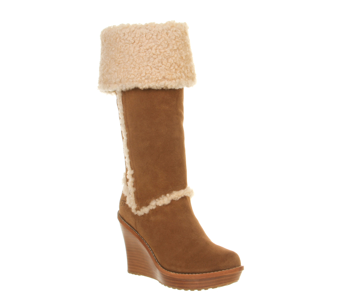 ugg aubrie wedge shearling knee boot in brown chestnut
