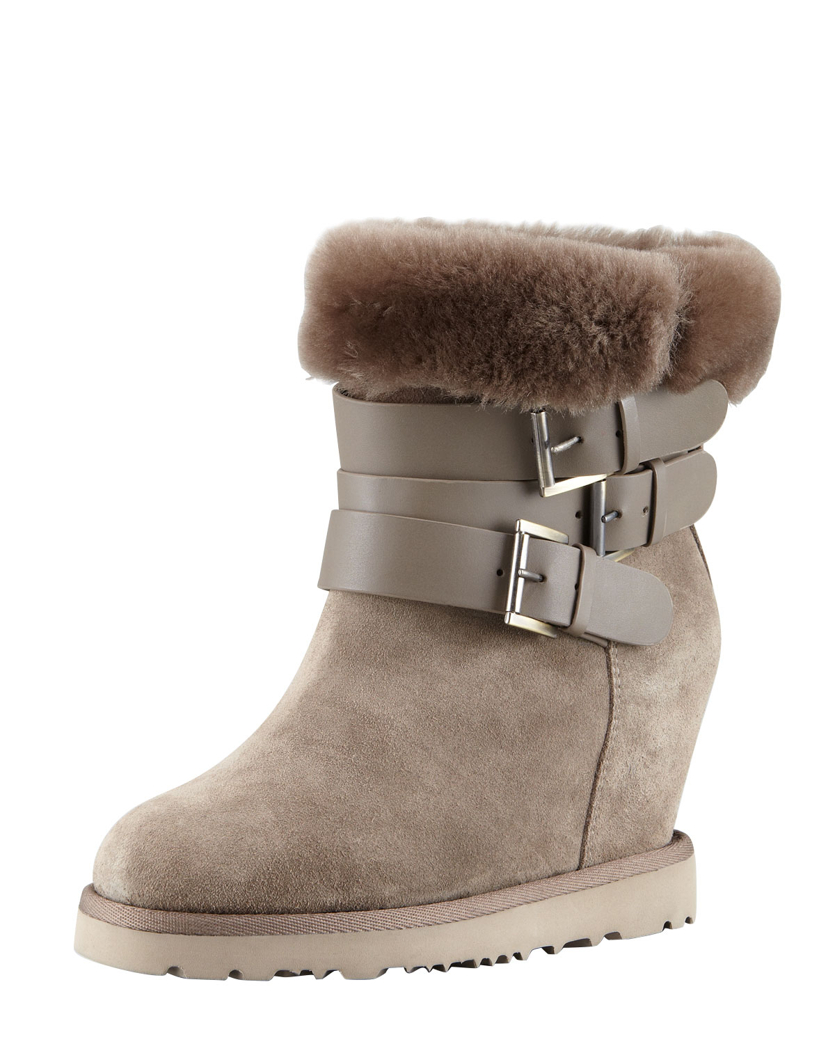 ash yes shearling cuff wedge boot topo in gray topo