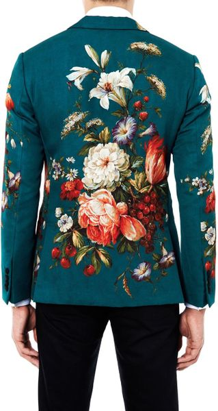 Dolce Amp Gabbana Floral Print Single Breasted Jacket In