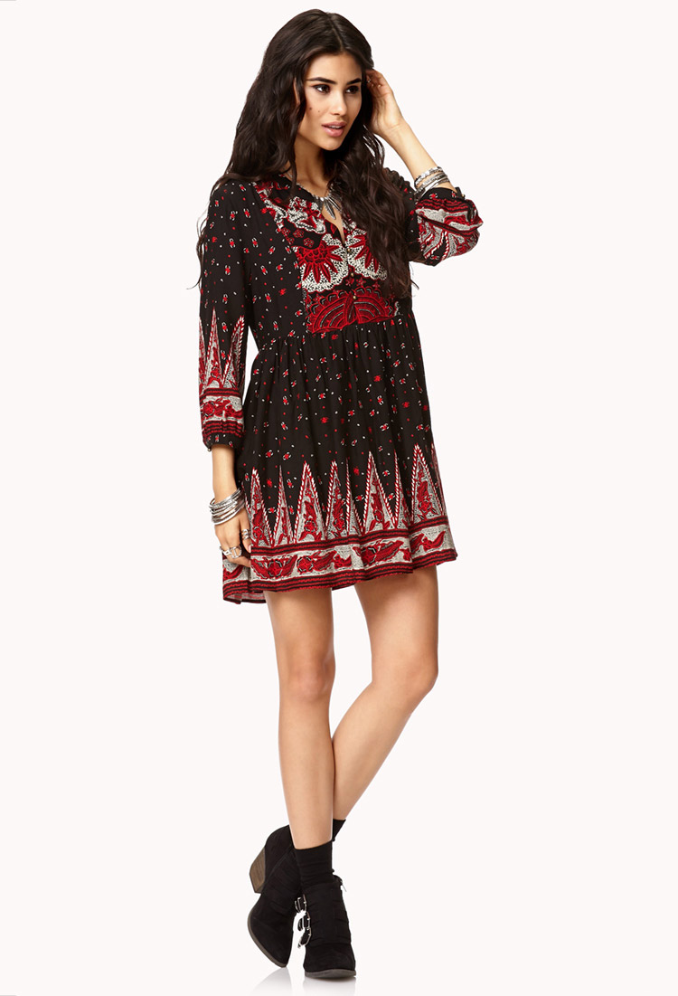 Forever 21 Boho Floral Peasant Dress In Charcoal Rust Red