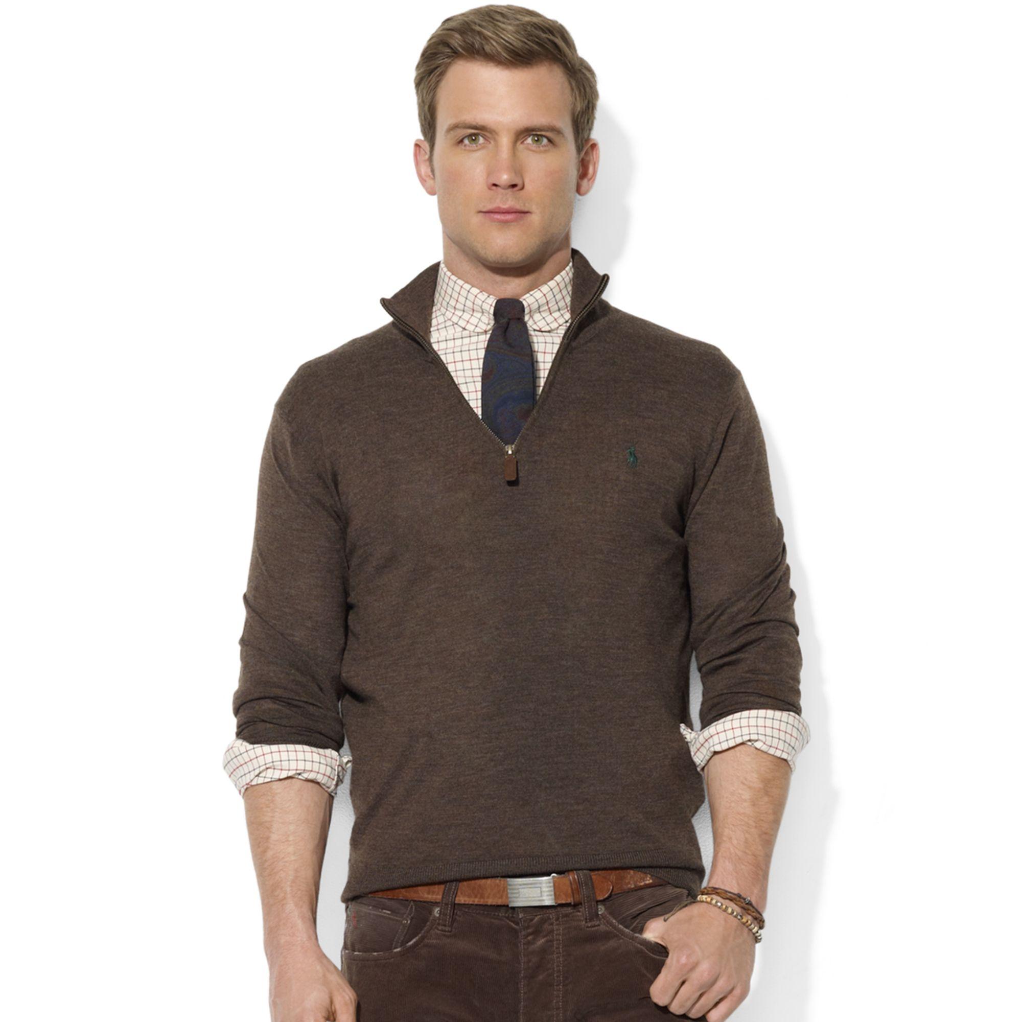 Ralph lauren Sweater Halfzip Mock Neck Merino Wool Pullover in ...