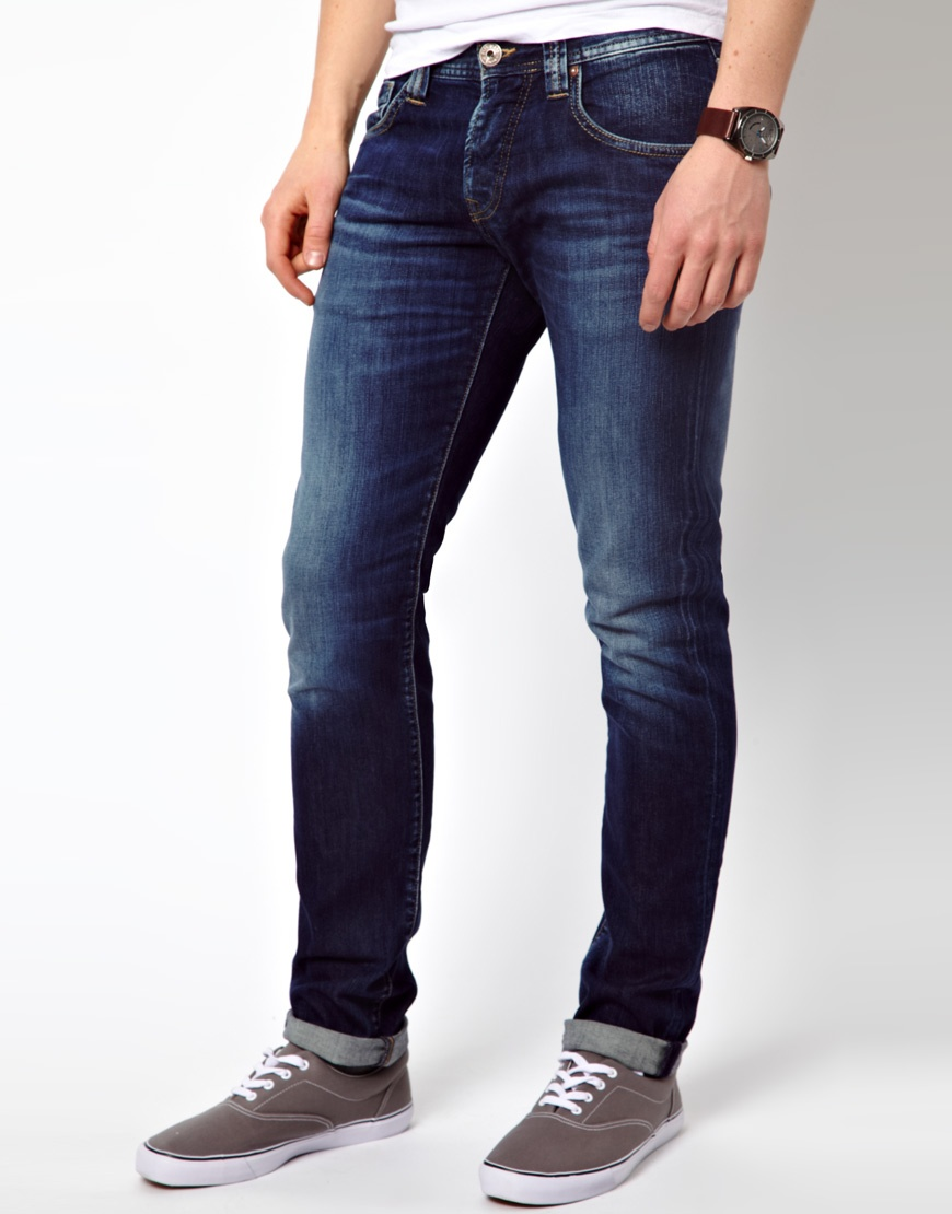 Lyst Pepe Jeans Cane Slim Fit Mid Wash In Blue For Men