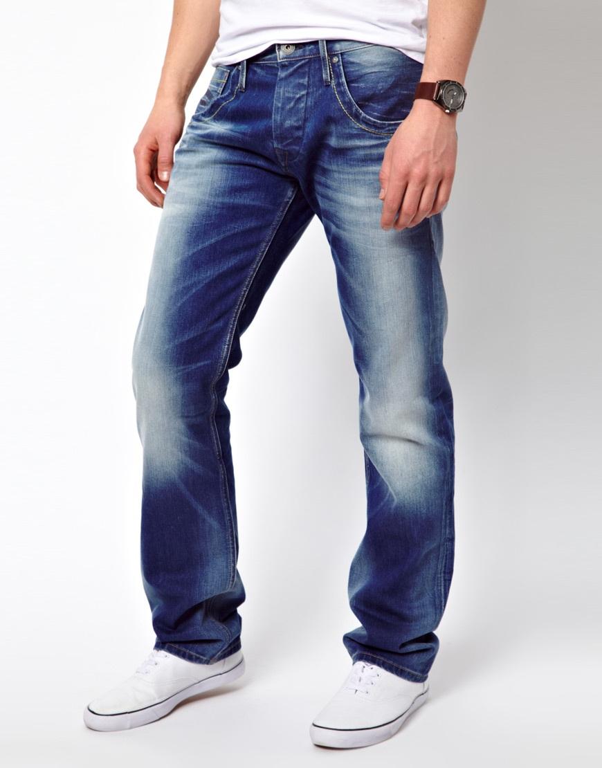 lyst pepe jeans tooting regular fit mid wash in blue for men. Black Bedroom Furniture Sets. Home Design Ideas