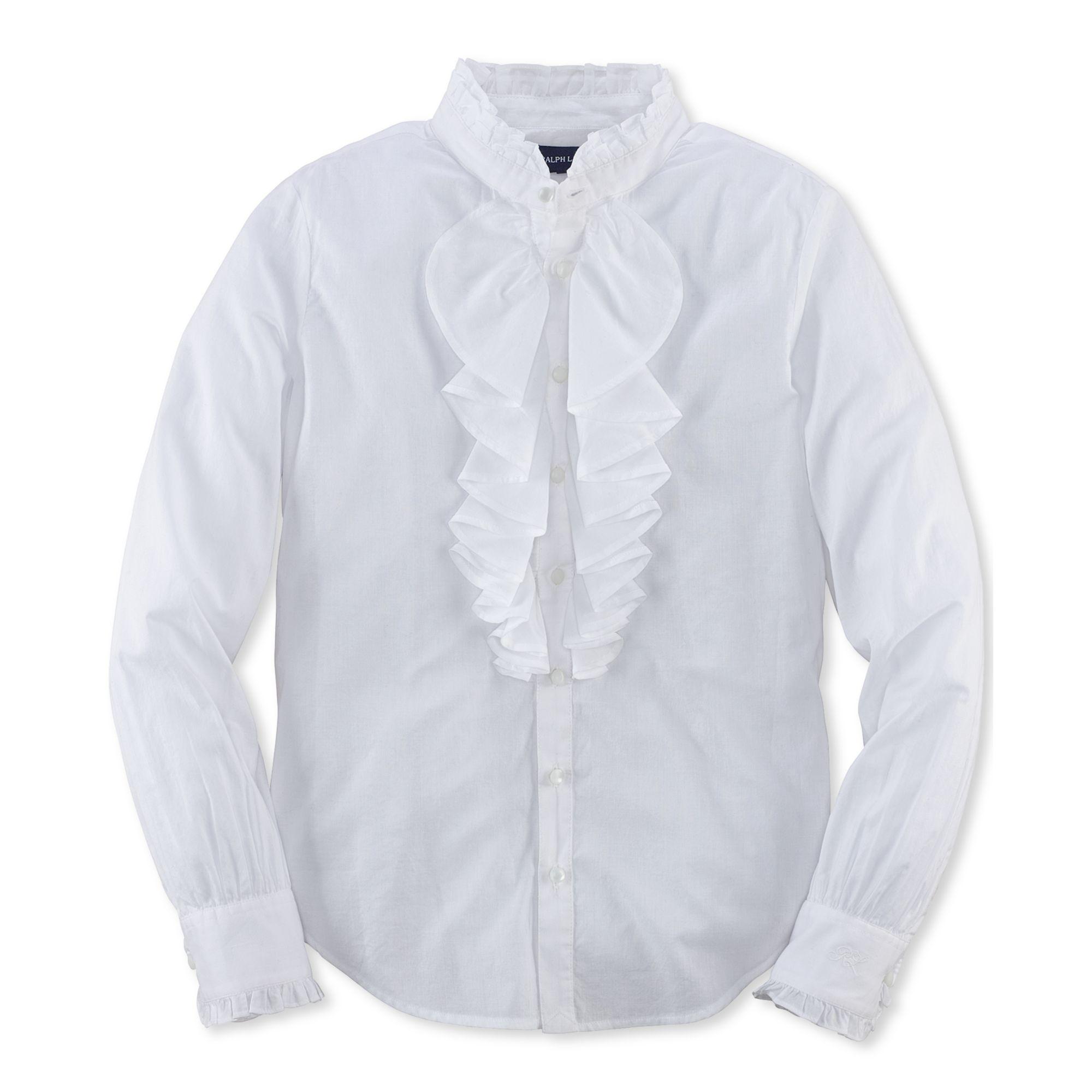 ralph lauren girls longsleeve white ruffle blouse in white lyst. Black Bedroom Furniture Sets. Home Design Ideas