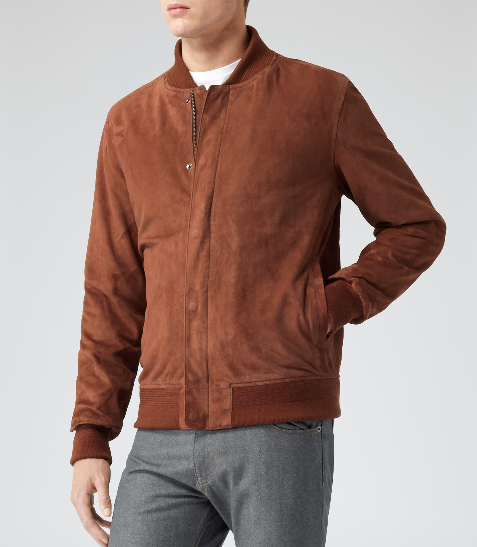 Reiss Madson Suede Bomber Jacket in Brown for Men | Lyst