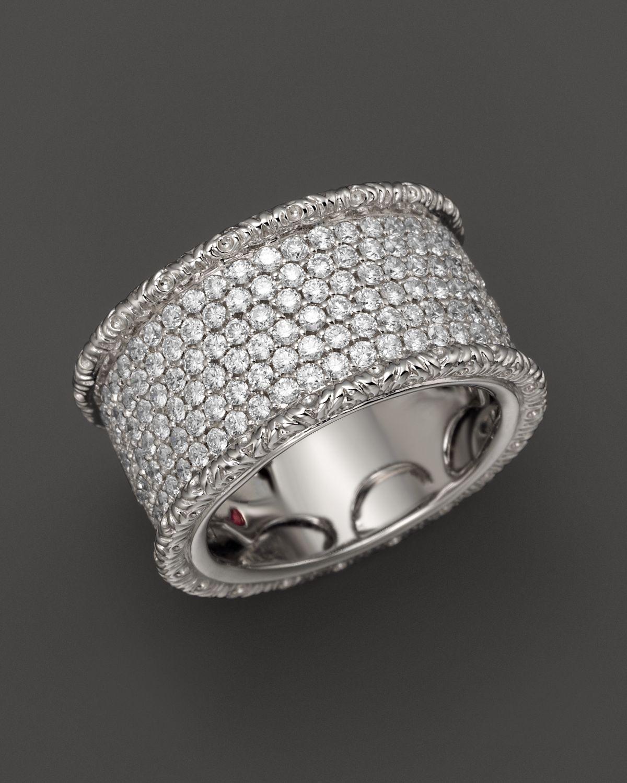Roberto Coin Synthetic 18k White Gold Florentine Diamond