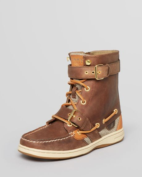 sperry top sider lace up boots huntley in brown lyst