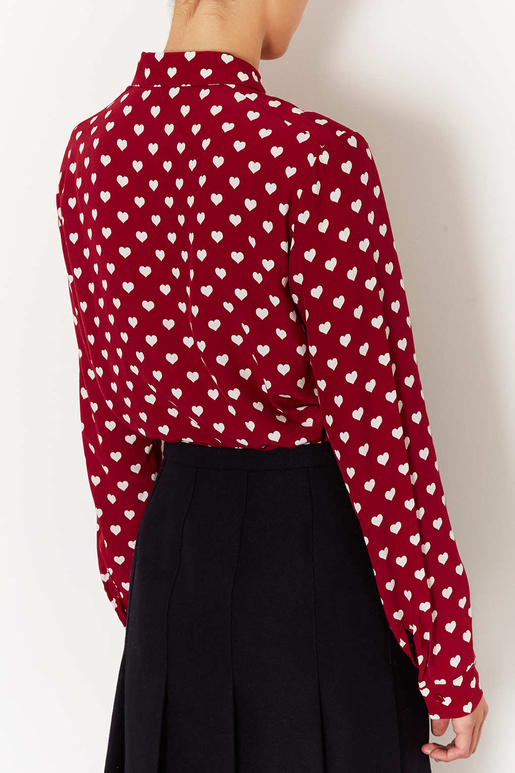 Topshop heart print shirt in red lyst for Womens denim shirts topshop