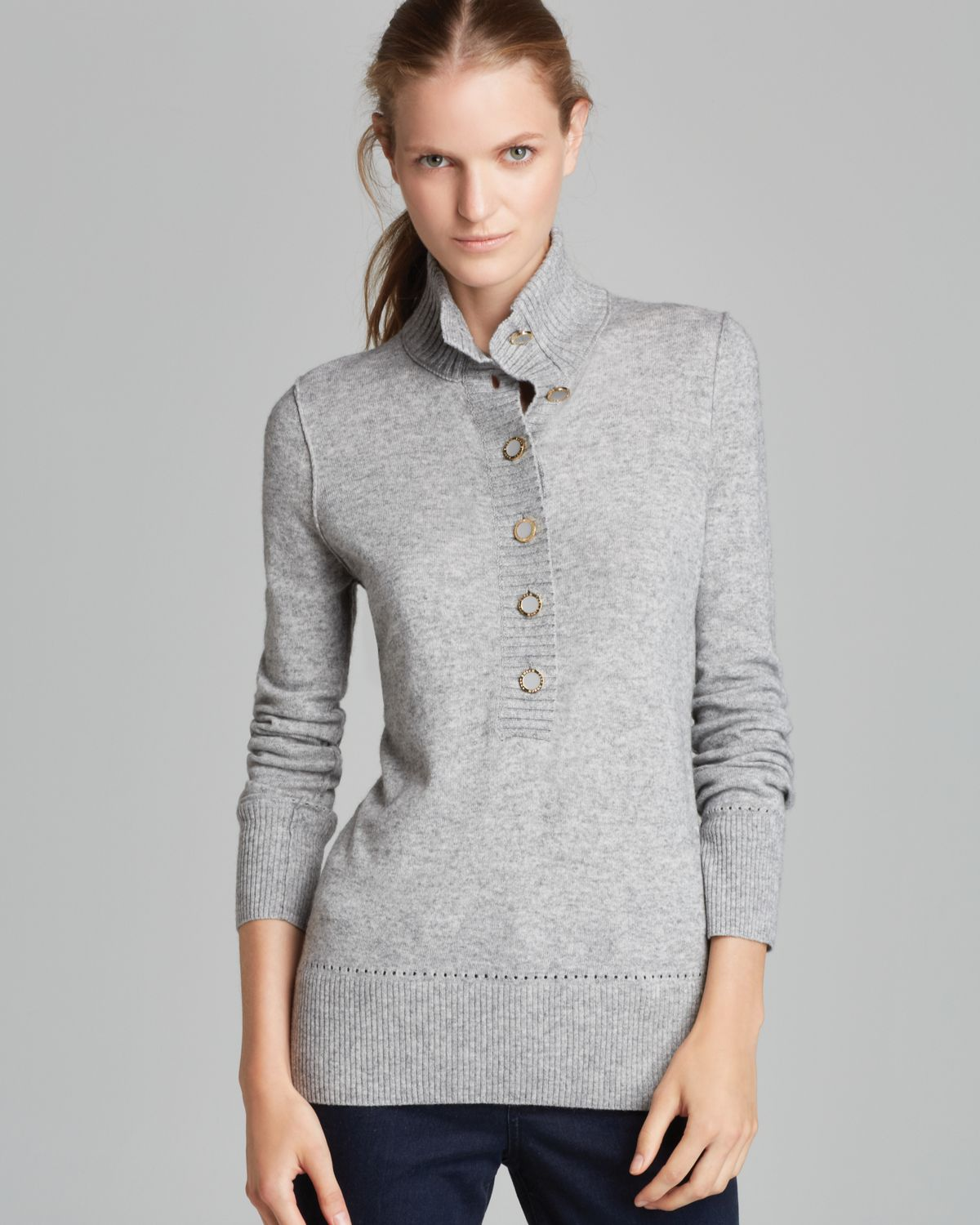 Lyst Tory Burch Giselle Sweater In Gray