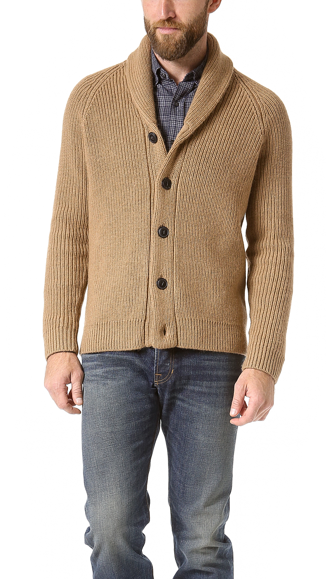 Vince Italian Lux Camel Shawl Collar Cardigan in Natural for Men ...