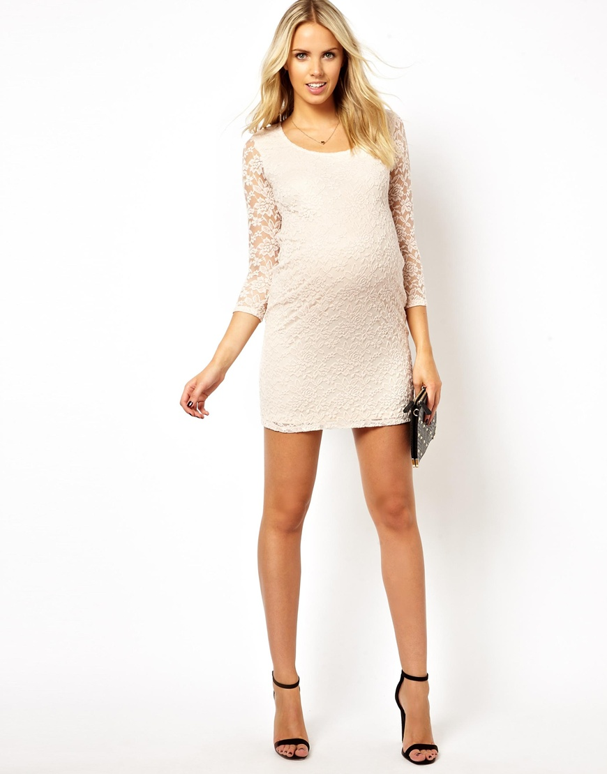 Lyst asos maternity mini bodyconscious dress in lace with scoop gallery ombrellifo Images