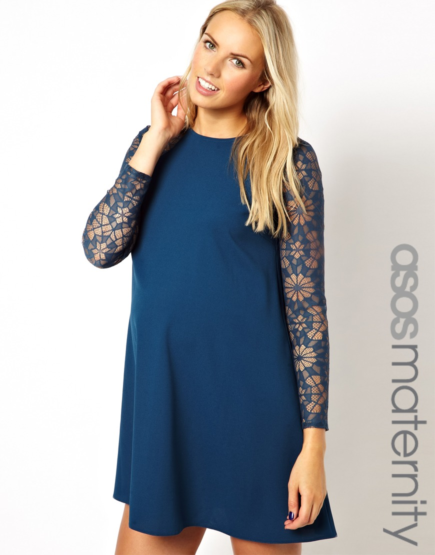 0cb4a55d731fd ASOS Maternity Swing Dress with Lace Sleeve in Blue - Lyst