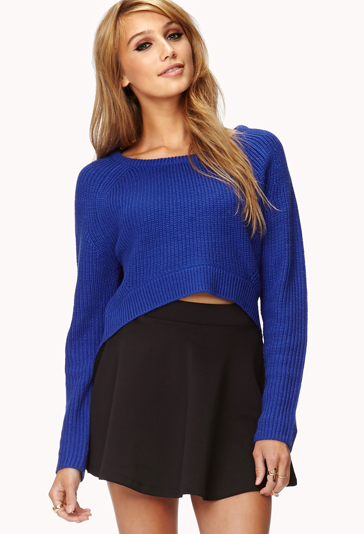 Forever 21 Bold High-low Cropped Sweater in Blue | Lyst