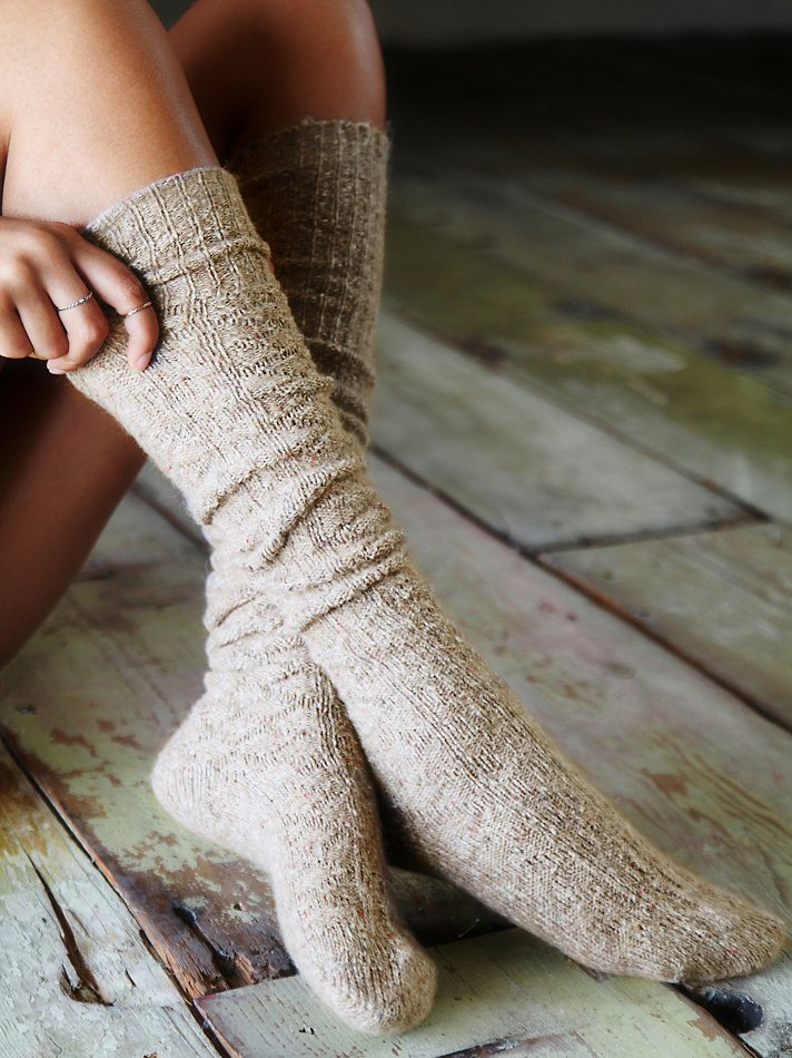 Free People Cozy Sweater Tall Sock In Brown Lyst