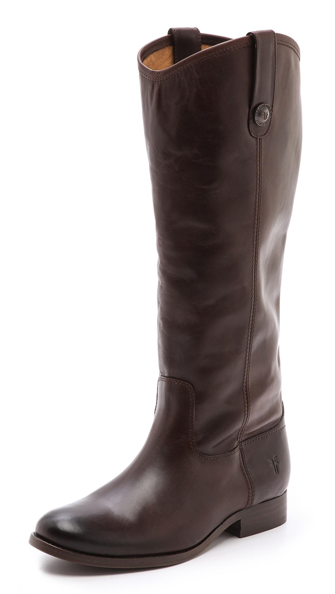 Frye Melissa Button Boots Black In Brown Dark Brown Lyst