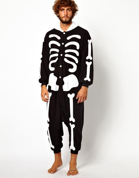 Asos Kigu Skeleton Onesie In Black For Men Lyst