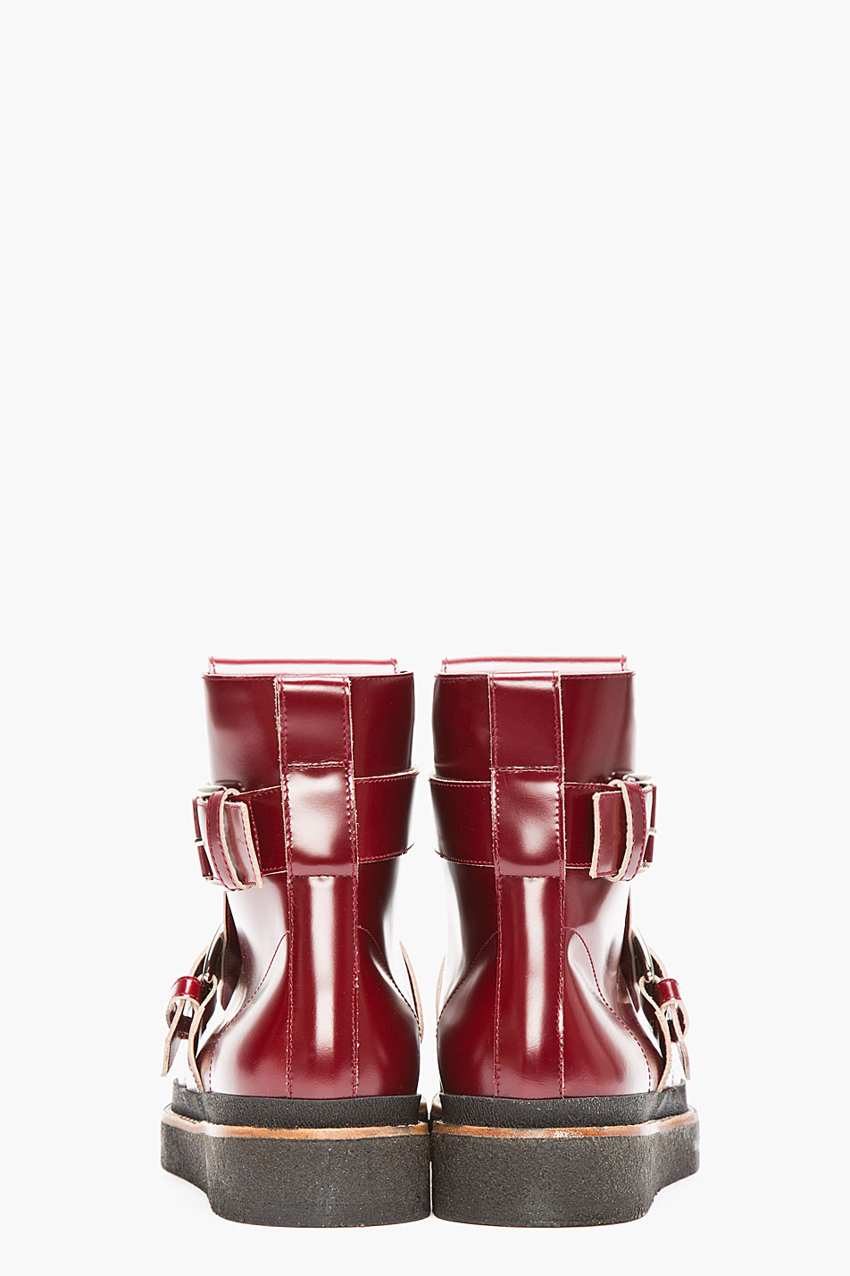 Marni Burgundy Leather Double Buckled Creeper Boots In Red