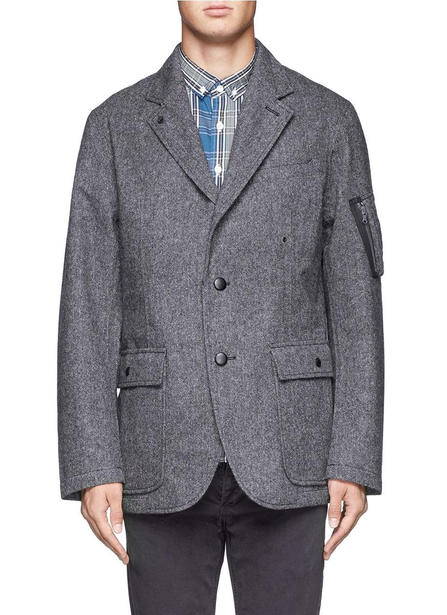 Nanamica Tweed Field Jacket In Grey Gray For Men Lyst