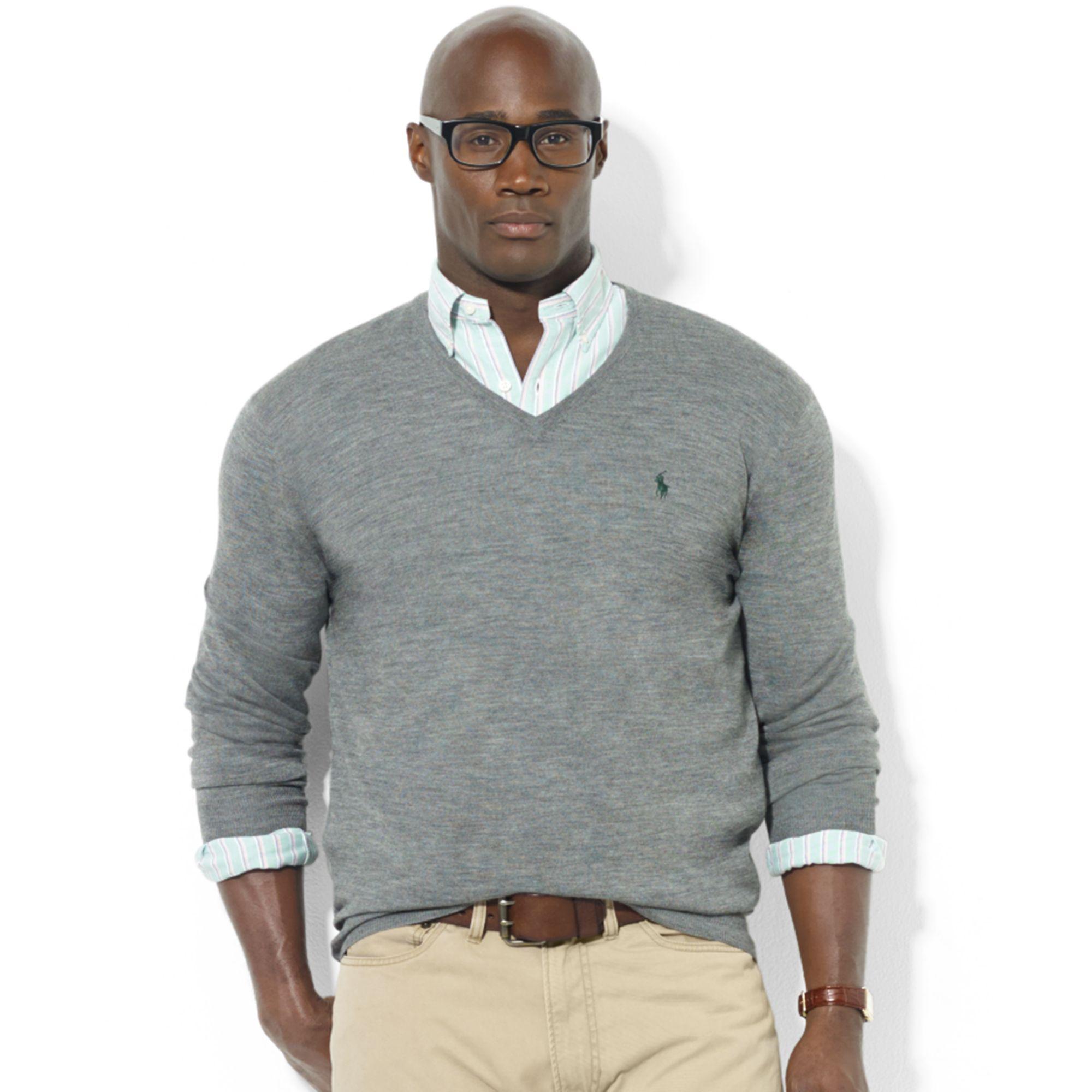 b6d331d9 Ralph Lauren Gray Vneck Merino Wool Sweater for men