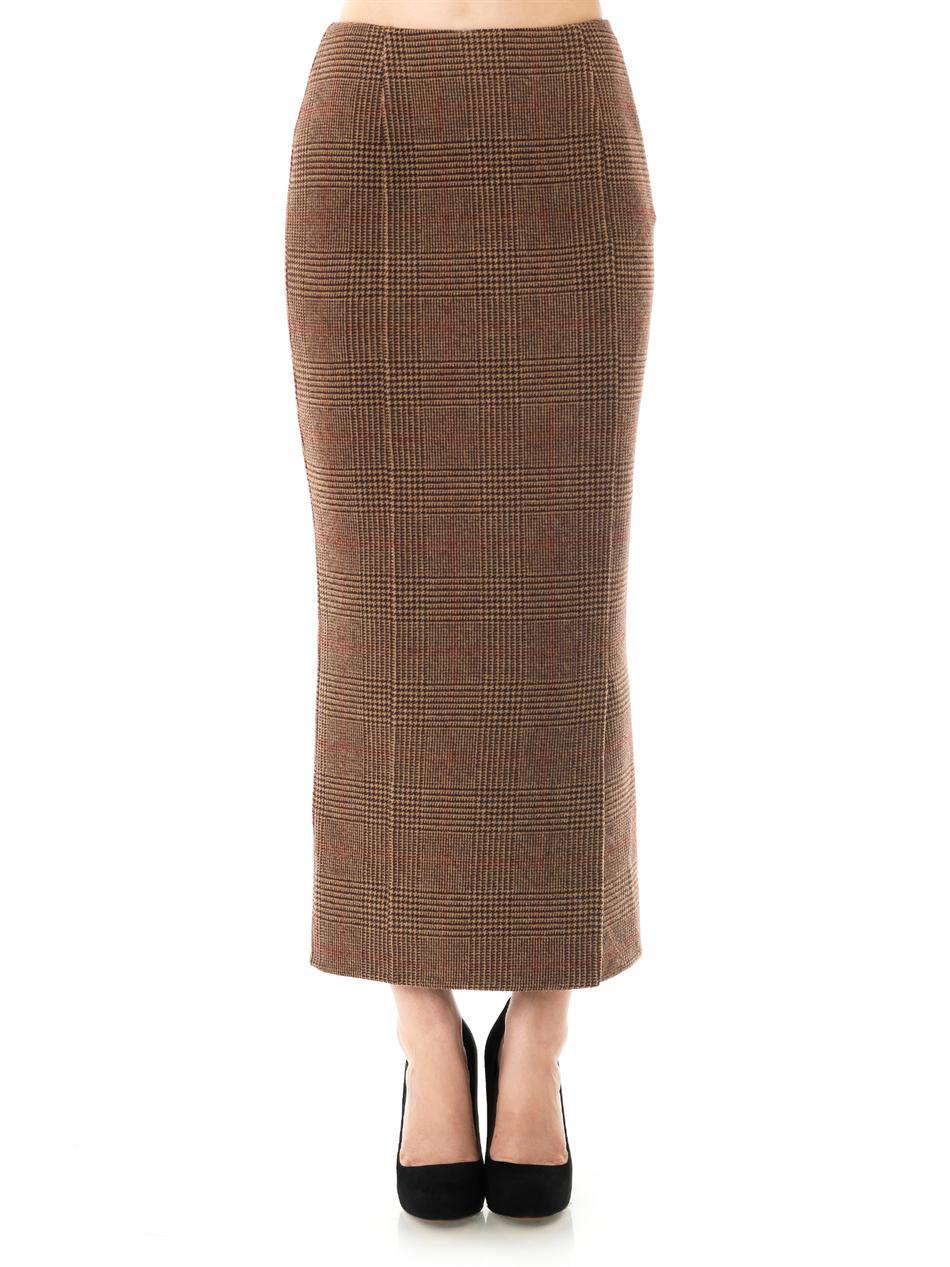 lyst rochas tweed pencil skirt in brown