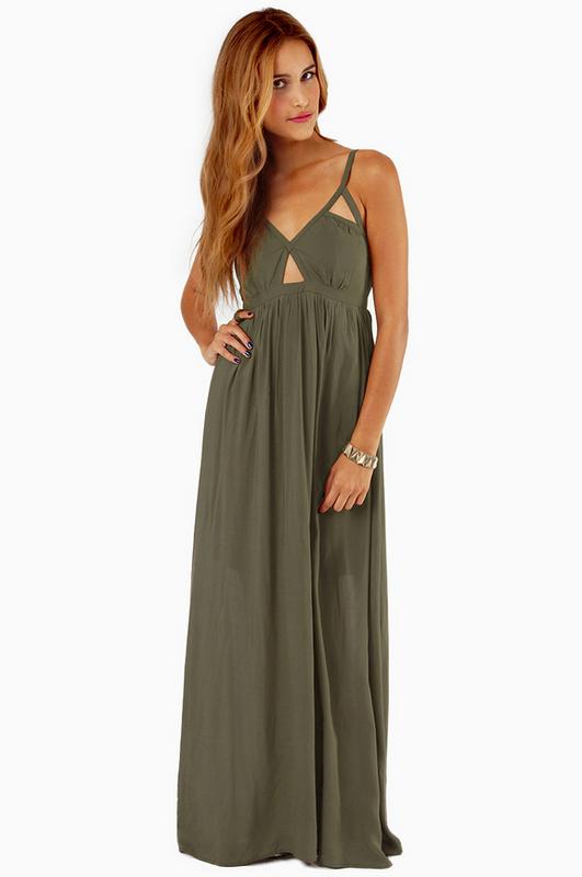 Tobi Imani Maxi Dress In Green Olive Lyst