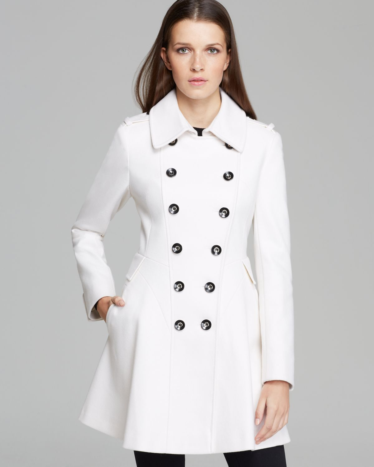 Via spiga Double Breasted Military Coat in White | Lyst