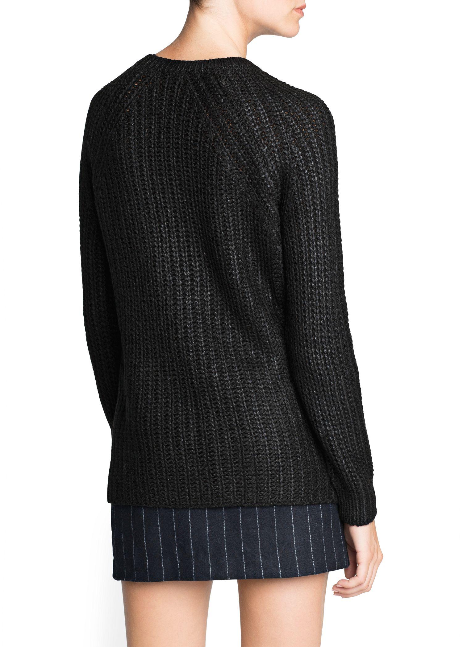 Mango Zip Chunky Knit Sweater in Black | Lyst